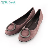 【Bo Derek 】鑽飾絨布娃娃鞋-紫色