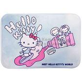 〔小禮堂〕Hello Kitty 腳踏墊《藍.衝浪.顏料》65x45cm.止滑海棉軟墊 4713909-23009