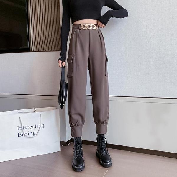 限時特價 年新款秋冬高腰寬松束腳直筒工裝褲顯瘦顯高小個子休閑褲女潮