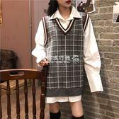 韓版寬鬆百搭格子撞色中長款無袖針織馬甲女背心潮  歐韓流行館