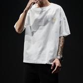 亞麻短袖t恤男夏季潮流刺繡圓領半袖打底衫中國風寬鬆棉麻上衣服
