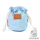 mi81 【 粉藍條紋(小) 束口袋 】 拍立得 相機 收納袋 保護袋 鏡頭袋 菲林因斯特