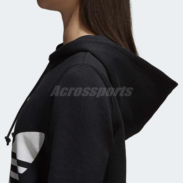 adidas 帽T Trefoil Hoodie 黑 白 三葉草 大Logo 女款 寬鬆版本 【ACS】 CE2408