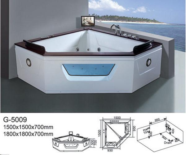 【麗室衛浴】BATHTUB WORLD  扇形人體工學設計款 按摩浴缸 G-5009 1500*1500*700mm