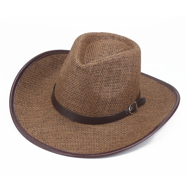 全場九五折 夏季遮陽西部牛仔帽草編透氣帶皮條帽男潮帽騎士男士休閑戶外帽子