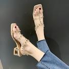 高跟鞋 涼鞋女ins潮年夏季新款中跟百搭夏天鉚釘仙女風粗跟高跟鞋夏 星河光年