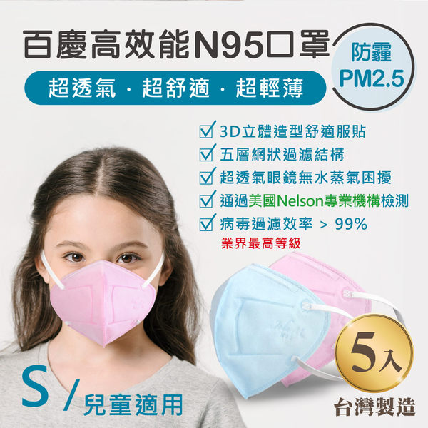 John m.百慶N95防霾PM2.5高效能口罩 兒童適用 (5入)