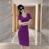 洋裝性感連身裙S-XL新款優雅氣質女人味穿出S曲線緊身包臀性感v領短袖裙子NE215D-5820.一號公館