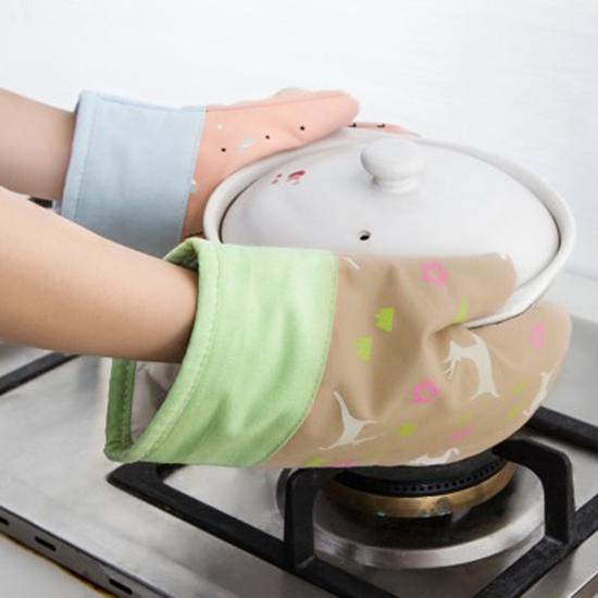 印花隔熱手套(單入售) 微波爐 烤箱 烘焙 耐高溫 廚房 防燙 棉帆布防滑【Z153】米菈生活館
