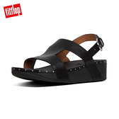 【FitFlop】MARLI H-BAR LEATHER BACK-STRAP SANDALS H型釘飾皮革涼鞋-女(黑色)