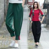 棉麻燈籠褲女復古民族風寬鬆顯瘦亞麻哈倫褲蘿卜褲春季休閒長褲子