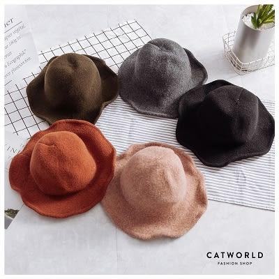 Catworld 潮感毛呢圓頂漁夫帽【18003185】‧F