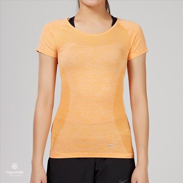 Nike DRI-FIT KNIT 橘黃色 運動訓練 慢跑 透氣 短袖 女生 718570-868