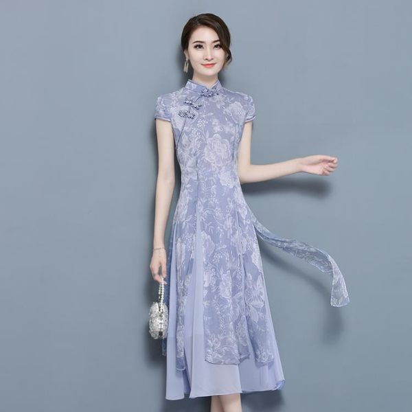 復古印花旗袍復古文藝修身旗袍中式連身裙