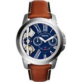 FOSSIL TWIST系列雙機芯日曆腕錶/手錶-藍x咖啡/44mm ME1161