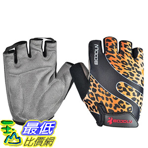 [106美國直購] 手套 BOODUN Cycling Gloves with Shock-absorbing Foam Pad Breathable  Leopard Print