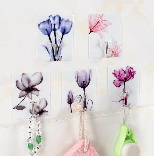 【TT249】創意水墨花朵掛鉤 免打孔無痕強力粘膠門後粘鉤 廚房浴室牆壁掛架 掛鉤