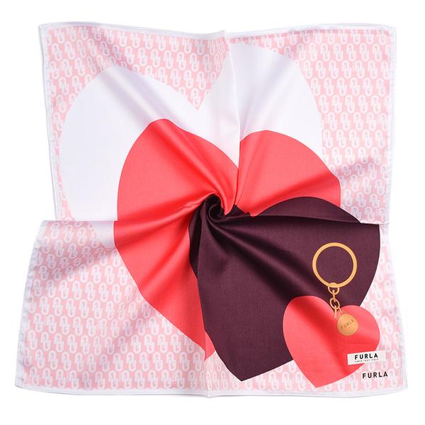 FURLA愛心鎖印花純綿帕領巾(粉色)989250-12