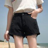 黑色破洞牛仔短褲女夏韓版寬鬆學生百搭闊腿高腰a字熱褲子 艾尚旗艦店