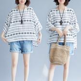 棉綢 民俗風險瘦版型上衣-大尺碼 獨具衣格 J2589