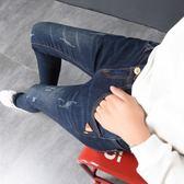 2018九分牛仔褲女春秋季2018新款高腰長褲緊身韓版顯瘦小腳女褲子