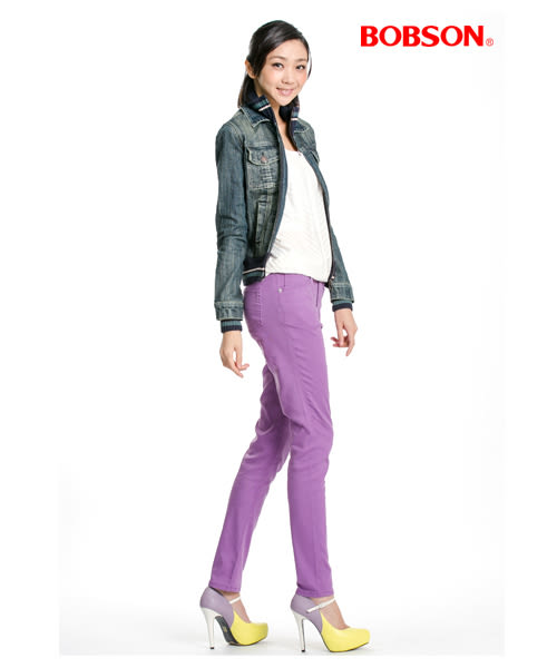 BOBSON 女款天絲棉強彈緊身褲(紫8086-61)
