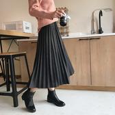 百褶長裙 百褶裙女秋冬中長款學生a字高腰大擺半身裙ins超火的裙子 3色M-L