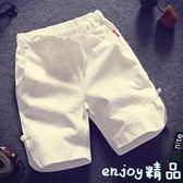 2018夏季寬鬆亞麻休閒褲短褲男褲子薄款純棉運動沙灘褲男士五分褲