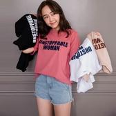 MIUSTAR WOMAN絨面字母設計親膚棉質上衣(共4色)【NH0367】預購