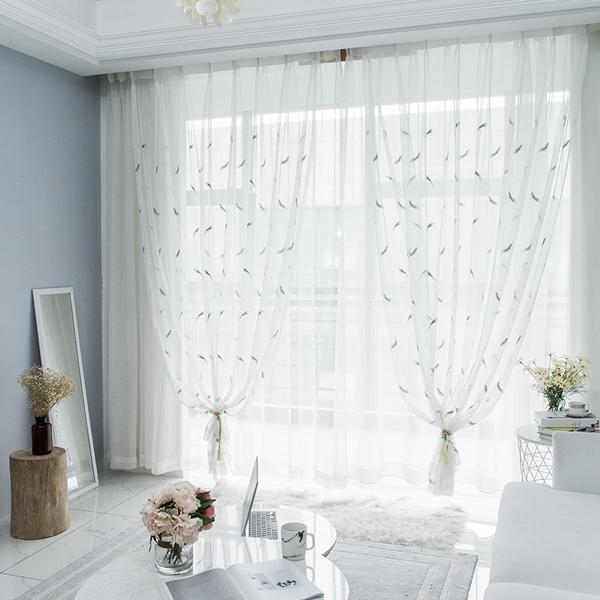 可定制窗紗 小清新窗紗寬1.5*高2.7掛鉤款 簡約現代客廳臥室飄窗簾布紗簾半遮光白紗