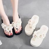 夾腳拖鞋 涼拖鞋坡跟厚底花朵沙灘人字拖旅游海邊夾腳拖鞋