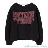 「Hot item」標語打印寬版落肩T恤 - earth music&ecology