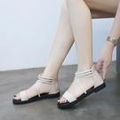 涼鞋女仙女風2020夏季新款百搭平底沙灘度假一字帶綁帶簡約羅馬鞋