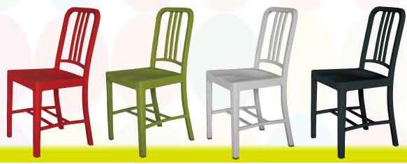 【南洋風休閒傢俱】造型桌椅系列 –海軍休閒椅 餐椅 塑料椅 彩色靠背椅 造型餐椅(529-2)