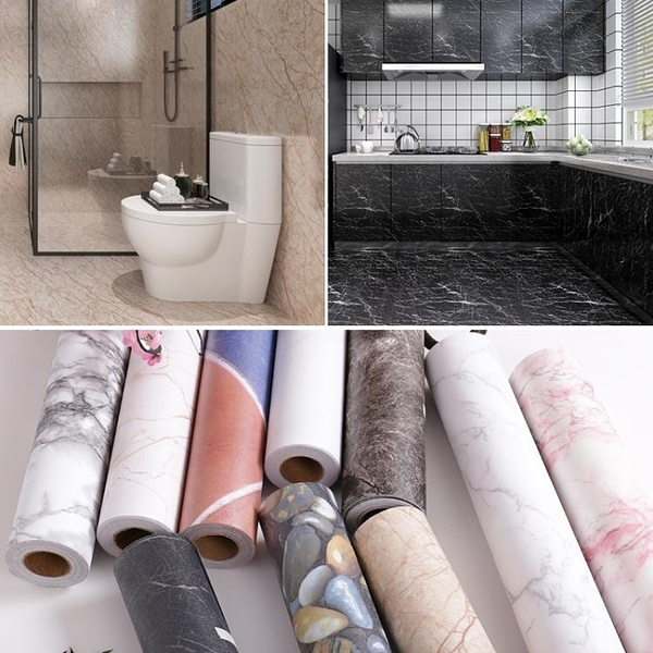防滑地貼防水耐磨仿大理石紋衛生間浴室自黏牆紙廚房地板翻新貼紙【快速出貨】