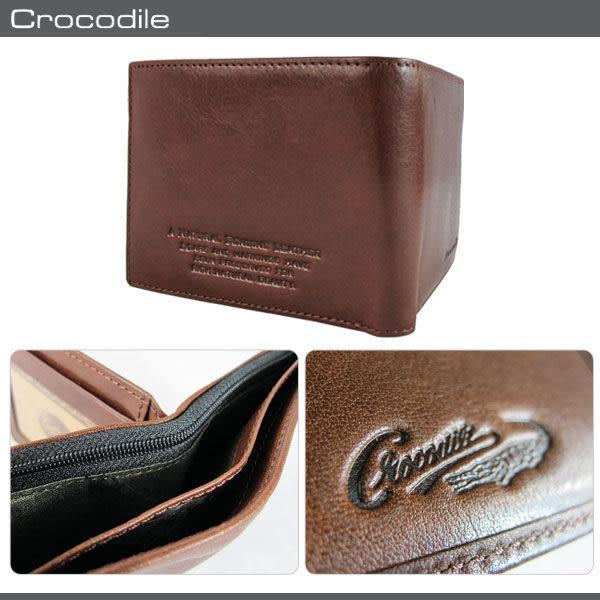 Crocodile 鱷魚 皮夾 Natural系列 咖啡色 原皮短皮夾 11卡中翻短夾 0103-58022 MyBag得意時袋