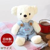 Hamee 日本製 手工原創商品 牛仔吊帶褲 絨毛娃娃 玩偶禮物 泰迪熊 (奶油色/M) 640-110817