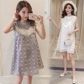 新款韓版時尚圓領網紗無袖寬鬆孕婦洋裝女LJ8511『黑色妹妹』