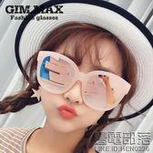 新款超大框偏光太陽鏡女大臉開車墨鏡潮韓國鏡面反光遮陽眼鏡(配鏡盒)