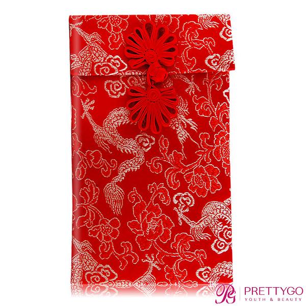 O'Pretty 歐沛媞 緞面刺繡大紅包袋/收納袋-金龍(10.5cmX17.5cm)【美麗購】