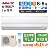 【台灣三洋】8-9坪變頻冷暖一對一220V精品型冷氣SAC-50VH7/SAE-50VH7(含基本安裝/6期0利率)