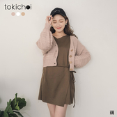 東京著衣-tokichoi-柔美秋日橫織V領金釦多色針織外套(191361)