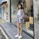 VK精品服飾 韓國風復古長袖格子襯衫寬口短褲套裝長袖褲裝