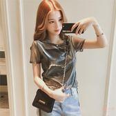涼感夏裝新款韓版亮絲透視短袖T恤吊帶兩件套女涼感純色套頭上衣 店家有好貨