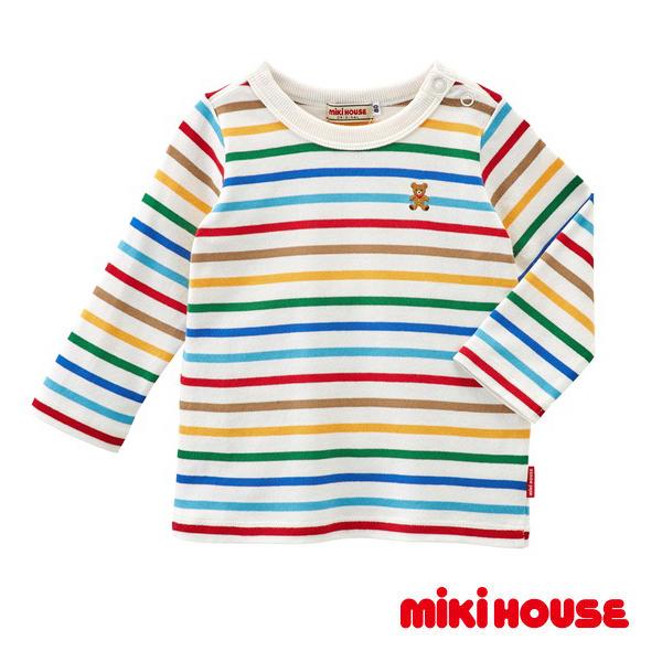 MIKI HOUSE Everyday經典條紋長袖T恤(白)