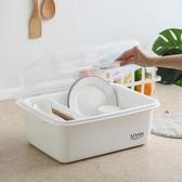 碗架 廚房瀝水碗架帶蓋塑膠碗櫃碗筷餐具收納盒放碗碟架滴水碗盤置物架 晟鵬國際貿易