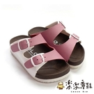 【樂樂童鞋】【台灣製現貨】MIT跳色小方扣拖鞋-粉 C007-1 - MIT 台灣製 男童鞋 女童鞋 拖鞋 沙灘鞋