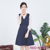 【RED HOUSE 蕾赫斯】假兩件蕾絲洋裝(藍色)