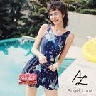 比基尼泳裝-日本品牌AngelLuna 日本直送 深藍印花連身裙OnePiece一件式溫泉沙灘泳衣