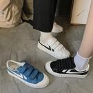 魔術貼小白鞋女秋款百搭網紅帆布鞋ulzzang學生韓版洋氣板鞋 遇見初晴